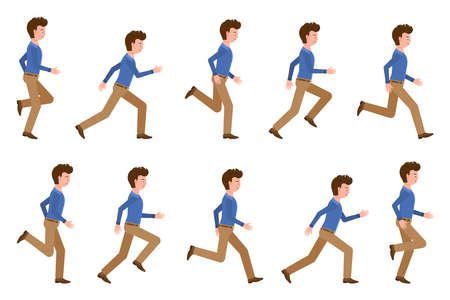Young adult man in light brown pants running sequence poses vector illustration. Fast moving forward office cartoon character set on white background Illustration