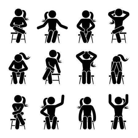 Sitting on chair stick figure woman different poses pictogram vector icon set. Girl silhouette seated happy, comfy, sad, tired, depressed sign on white background Ilustração