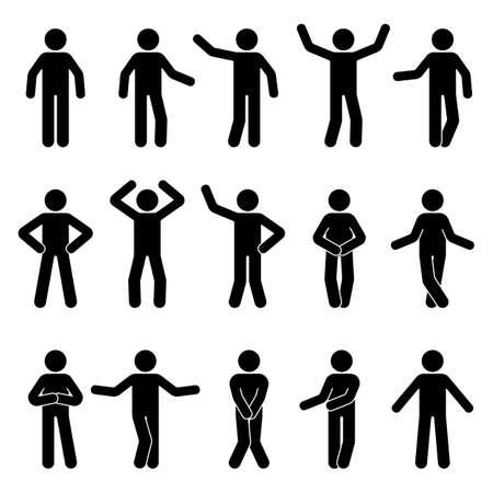 Stick figura hombre de pie vista frontal diferentes poses vector icono pictograma conjunto. Blanco y negro recorta la silueta humana de personas sobre fondo blanco.