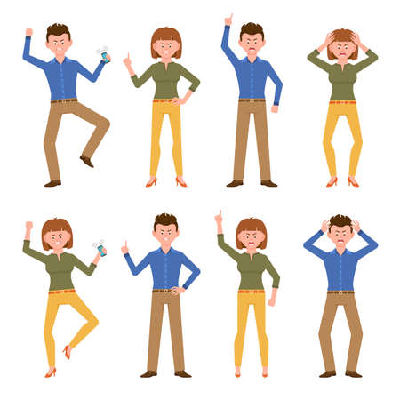 Angry, stressed, desperate, unhappy blue shirt man and yellow pants woman vector illustration. Shouting, pointing finger, talking on phone boy and girl cartoon character set on white