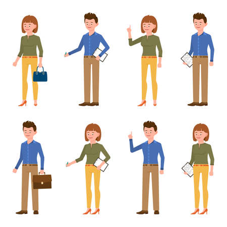 Nice looking, young blue shirt business man and yellow pants woman vector illustration. Standing side view, writing notes, pointing finger male and female cartoon character set on white