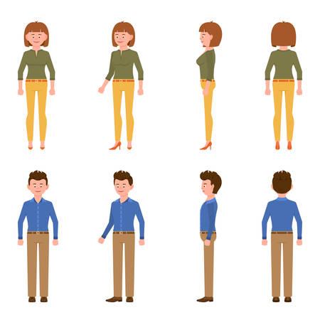 Nice, cute, handsome, pretty young blue shirt office worker man and green top woman vector illustration. Standing, smiling, front, side, back view male and female people cartoon character set on white