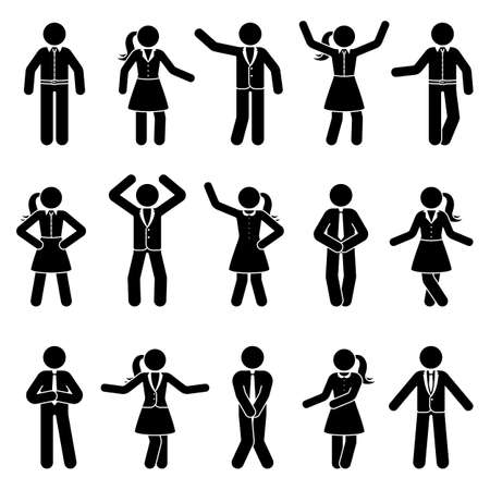 Stick figure business man and woman standing front view different poses vector icon pictogram set. Black and white cut out office people human silhouette on white background