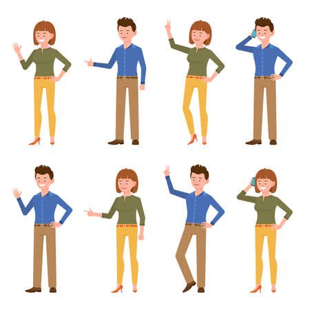 Smiling, friendly blue shirt office man and green top woman vector illustration. Waving hand, talking on phone, showing victory sign, standing side view boy and girl cartoon character set on white Ilustração