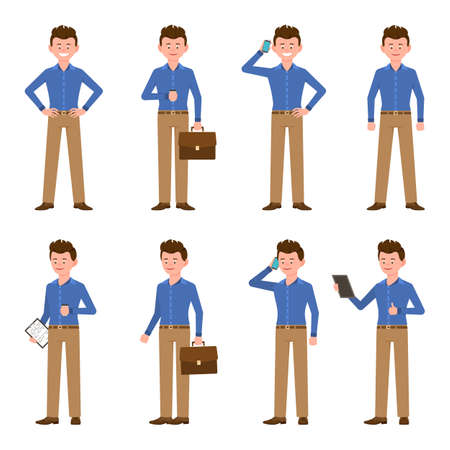 Young, happy, confident blue shirt man vector illustration. Standing with hands on hips, drinking coffee, talking on phone, using tablet, writing notes, thumbs up boy cartoon character set on white