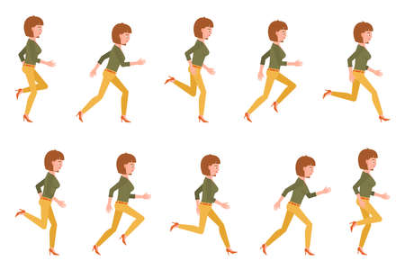 Young adult woman in yellow pants running sequence poses vector illustration. Fast moving forward office cartoon character set on white backgroun Ilustração