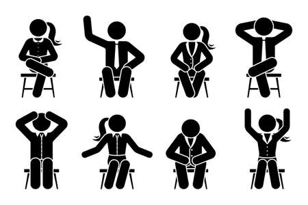Sitting on chair stick figure business man and woman different poses pictogram vector icon set. Boy and girl silhouette seated happy, comfy, sad, tired, depressed sign on white background