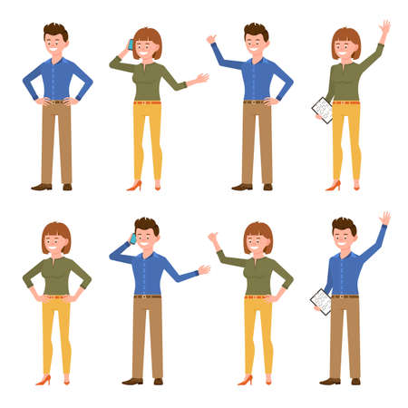 Very happy, blue shirt smiling office guy and green top lady vector illustration. Standing side view, talking on phone, waving hello, showing thumbs up male and female cartoon character set on white