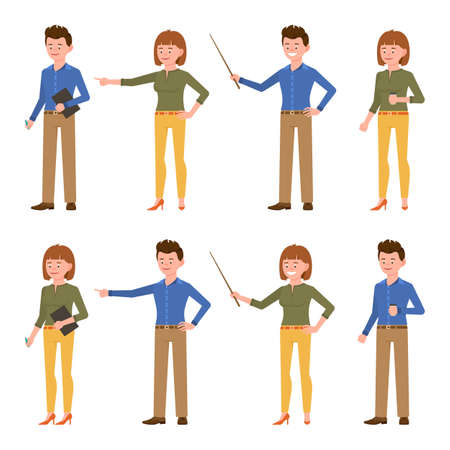 Funny blue shirt office worker guy and green top lady vector illustration. Pointing finger, holding wooden wand, standing with coffee, writing notes man and woman cartoon character set on white
