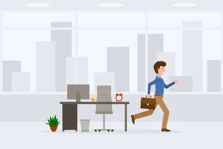 Young adult man in light brown pants running away from office at the end of day vector illustration. Fast moving forward, going home cartoon character on cityscape background