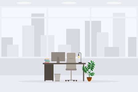 Design of modern empty office working place front view vector illustration. Table, desk, chair, computer, desktop, books, plant, lamp, trash bin isolated on cityscape background