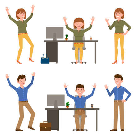 Happy, smiling, jumping funny young man and woman vector illustration. Hopping, hands up, having fun at office workplace boy and girl cartoon character set on white