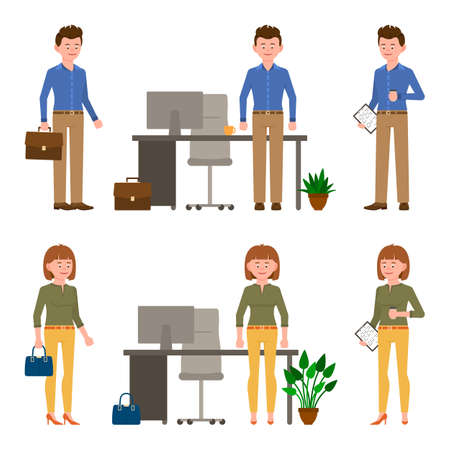 Nice, young business man and woman vector illustration. Standing with bag, briefcase, notepad, side view, drinking coffee male and female cartoon character set on white