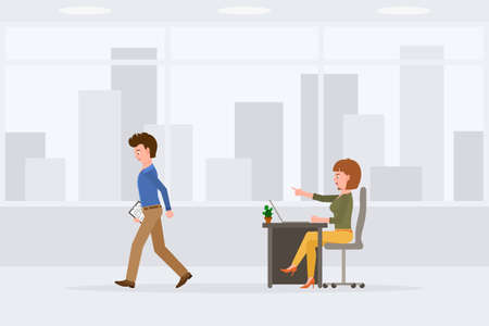 Angry, sad, desperate, upset man and woman vector illustration. Shouting, pointing finger, scolding, walking away office boy and girl cartoon character set on cityscape background