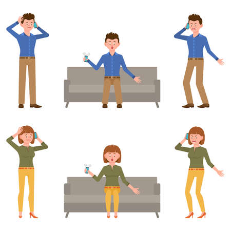 Sad, miserable, surprised, amazed, angry, shouting office man and woman vector illustration. Standing, talking on phone, sitting on sofa boy and girl cartoon character set on white