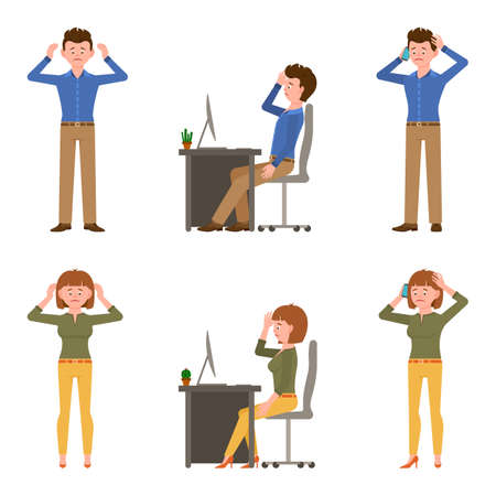 Sad, exhausted, miserable office boy and girl vector illustration. Standing unhappily, upset, talking on smartphone, depressed man and woman cartoon character set on white