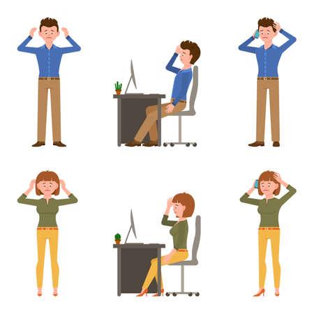 Traurige, erschöpfte, elende Bürojunge und -mädchenvektorillustration. Stehen unglücklich, verärgert, sprechen auf dem Smartphone, depressiver Mann und Frau Cartoon-Zeichensatz auf Weiß
