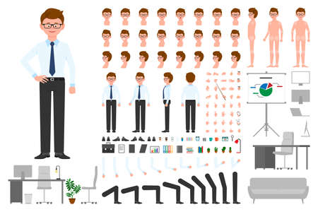 Office worker cartoon character body parts creation set. Young man standing constructor vector illustration on white