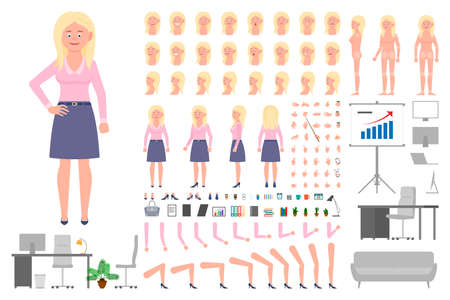 Office worker blonde girl cartoon character body parts creation set. Young woman standing vector constructor illustration on white