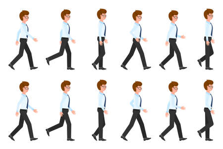 Young, adult eyeglasses man walking sequence poses vector illustration. Moving forward, fast, slow going person cartoon character set on white