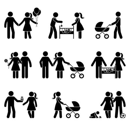 Young family dating, playing with baby, walking with stroller stick figure vector icon illustration. Father and mother spending time with child, kid silhouette pictogram posture on white