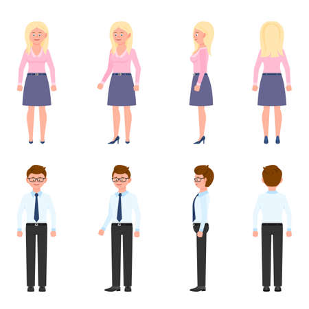 Nice, cute, handsome, pretty young office worker man and woman vector illustration. Standing, smiling, front, side, back view male and female people cartoon character set on white