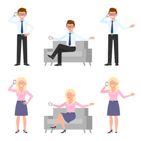 Young, cute, funny man and woman vector illustration. Talking on phone, smartphone, making call, conversation, dialog, sitting on sofa office guy and lady cartoon character set on white