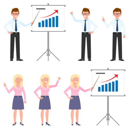 Happy, young, successful office manager vector illustration. Man and woman finance worker making presentation, report, good results cartoon character set on white Illusztráció