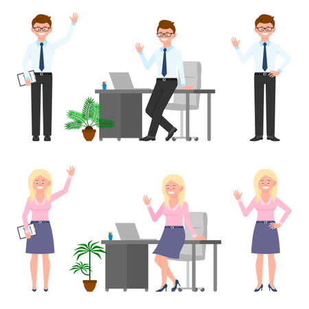 Happy, smiling, funny office worker man and blonde woman vector illustration. Front view standing with notes, waving hello, leaning on table boy and girl cartoon character set on white