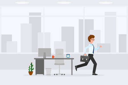 Young, adult man running away from office at the end of day vector illustration. Fast moving forward, going home male cartoon character on cityscape background