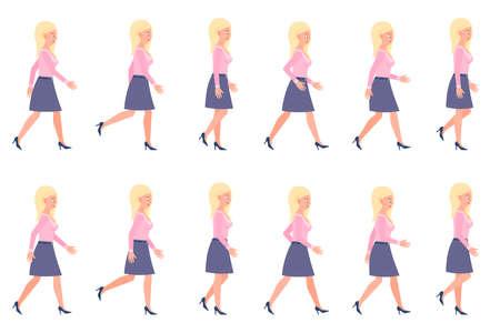 Junge, erwachsene Frau, die Sequenz geht, wirft Vektorillustration auf. Vorwärts, schnell, langsam gehende Person Cartoon-Zeichensatz auf Weiß