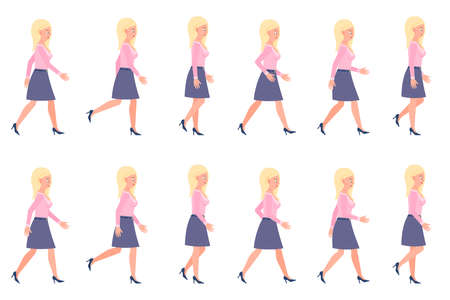 Young, adult woman walking sequence poses vector illustration. Moving forward, fast, slow going person cartoon character set on white