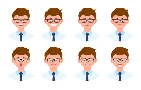 Emotional face cartoon character office man front view vector illustration set. Happy, smiling, upset, surprised, sad, angry, shouting eyeglasses person flat style concept