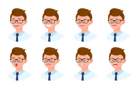 Emotional face cartoon character young office man 3/4 side view design vector illustration set. Happy, smiling, upset, surprised, sad, angry, shouting eyeglasses person flat style concept