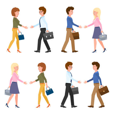 Cute guy and lady hands shaking, walking, moving forward vector illustration. Side view office man and woman at meeting, negotiation, successful teamwork cartoon character set on white Vettoriali