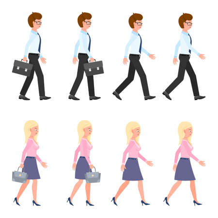 Young, adult man and woman walking sequence poses vector illustration. Moving forward, fast, slow going people cartoon character set on white