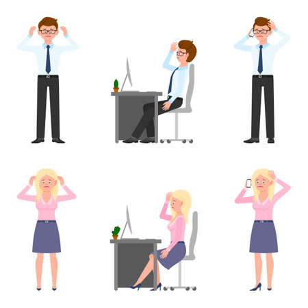 Sad, exhausted, miserable office boy and girl vector illustration. Standing unhappily, upset, talking on phone, depressed man and woman cartoon character set on white