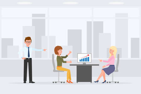 Two woman sitting at desk, meeting, discussing sales report in office workplace vector illustration. Man standing, pointing finger, girl and lady talking at table cartoon character design Foto de archivo - 141064965