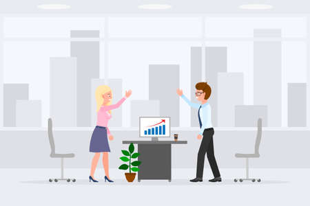 Happy male and female indoor interior, working place vector illustration. Slapping hands, successful report, smiling boy and girl cartoon character set on cityscape background 向量圖像