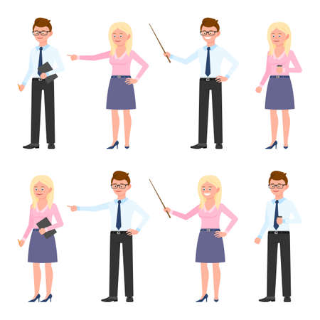 Funny office worker guy and lady vector illustration. Pointing finger, holding wooden wand, standing with coffee, writing notes eyeglasses man and blonde woman cartoon character set on white