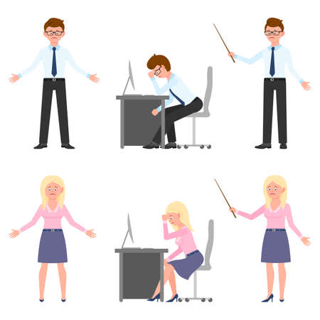 Sad, exhausted, miserable office boy and girl vector illustration. Standing with pointer unhappily, sitting depressed man and woman cartoon character set on white Vettoriali