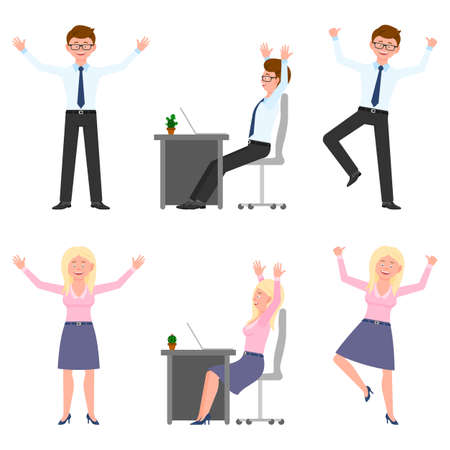 Happy, smiling, jumping young office man and woman vector illustration. Hopping, hands up, having fun, sitting side view at desk boy and girl cartoon character set on white