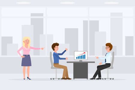 Two man sitting at desk, meeting, discussing sales report in office workplace vector illustration. Woman standing, pointing finger, boy and guy talking at table cartoon character design Vettoriali