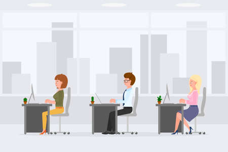 Cute, funny business colleagues sitting at desk, typing on computer, desktop, laptop vector illustration. Man and woman coworkers in office interior cartoon character set on cityscape background