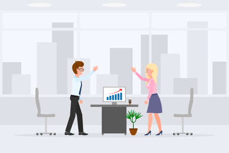 Happy man and woman indoor interior, working place vector illustration. Workers giving high five, successful report, smiling, hands up male and female cartoon character set on cityscape background Illustration