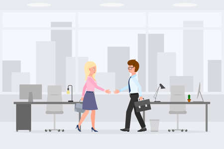Friendly man and woman hands shaking meeting partners vector illustration. Two coworkers making negotiation deal at office interior cartoon character set on cityscape background