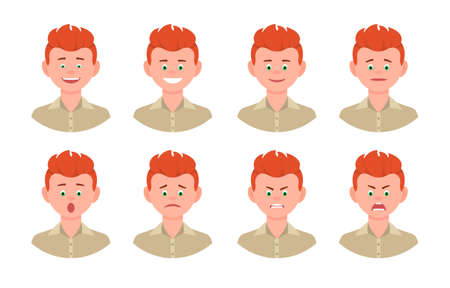 Emotional face cartoon character young office man front view design vector illustration set. Happy, smiling, upset, surprised, sad, angry, shouting red hair person flat style concept