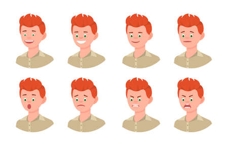 Emotional face cartoon character young office man 3/4 side view design vector illustration set. Happy, smiling, upset, surprised, sad, angry, shouting red hair person flat style concept