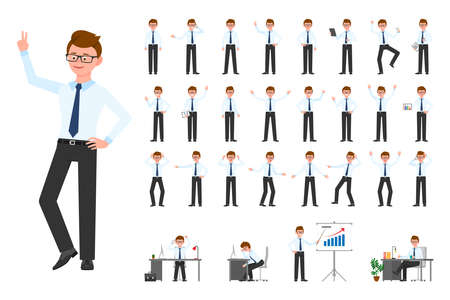 Cartoon character office business man vector illustration. Flat style design glasses human worker guy person poses set on white background