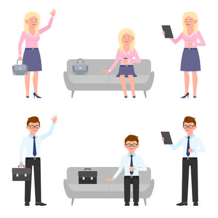 Smiling, young business man and blonde woman vector illustration. Standing side view, waving hello, using tablet, sitting on sofa, waiting office boy and girl cartoon character set on white